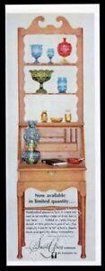 1960 L.E. Smith Glass red vase blue goblet hurricane lamp gold green photo ad