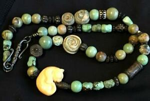 Unique Antique Sterling Green Turquoise Carved Cat Trade Beads Necklace