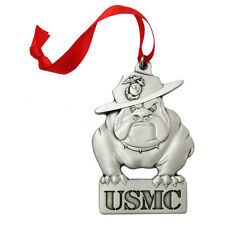 USMC Bulldog Pewter Ornament USMCOR203. Made in USA.