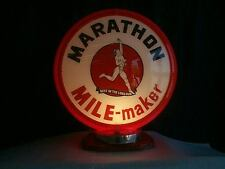 gas pump globe MARATHON & LIGHT STAND NEW reproduction 2 GLASS LENSES