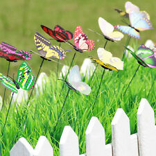 10pcs Butterflies On Sticks Flower Vase Bonsai Decor Fairy Garden Ornaments DIY