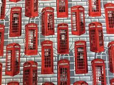 Nutex - Britannia - Telephone Booths - Red Telephone Boxes- 100% Cotton Fabric
