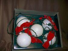 SET OF 5 1992 SNOWBALL LIGHTS CHRISTMAS TREE ORNAMENTS MANTLE TABLE DECOR