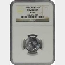 1951 Canada 5 Cents Low Relief NGC MS 64