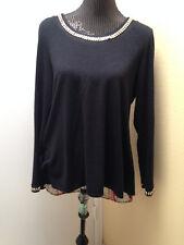Style&Co Sz L Long Slv Blk W/Printed Split Back Jeweled Collar Tulip Sweater Top