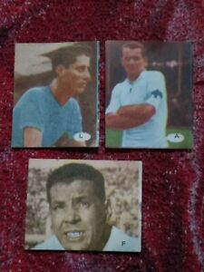 three collectible cards of great Uruguayan soccer players world champions