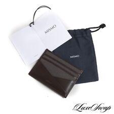 NIB Mismo Grey Dark Brown Woven Nylon Bridle Leather Card Case Wallet MODERN NR