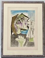 "PABLO PICASSO Rare Signed Vintage Pochoir Lithograph ""Weeping Woman"" Authentic"