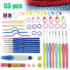 53Pcs Crochet Hooks Needles Knit Weave Craft Yarn Set Accessories Knitting Kit