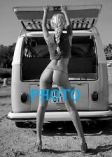 photo  femme nue nu sexy érotique pin-up  - non cpa - blonde  cars automobile