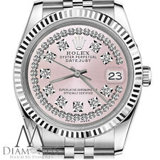 Baby Pink Rolex Watch 26mm Datejust String Diamond Dial 18K & Stainless Steel