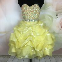 NWT Party time Junior Women's Yellow Embellished Short Prom Formal Dress Size 0