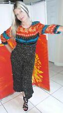 Vintage Carole Little Petite Crop Top Pant Outfit Retro 90's Baggy Rayon Medium