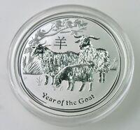 2015 2 oz Silver Australia Lunar Year of The Goat .999  BU encapsulated PERTH