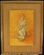 Painting of A Demure Nude Woman on Board by B. Mathison '68 Mid Century Art Work