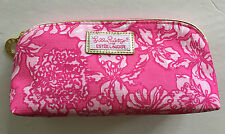 Lilly Pulitzer for Estee Lauder MAKEUP BAG Pink Floral Zip Closure Gold Trim
