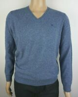 Men`s Pure Lambswool V-Neck Jumper Sizes Large Light Blue Sweater