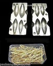 Sea Fishing Lead Weight Mould 4 in1 & 200 Black  Loops Size 2