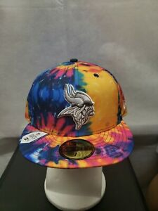 NWS Minnesota Vikings 2020 NFL Crucial Catch New Era 59fifty Tie Dye 7 1/2