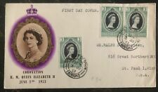 1953 Trinidad First Day Cover QE II Queen Elizabeth coronation FDC To St Paul MN