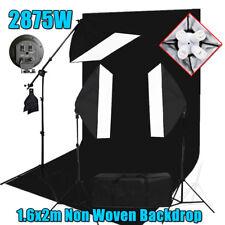 Photography Studio Softbox Lighting Boom Arm Light Stand 1.6x2M Black Backdrop