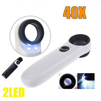 40X Magnifier With 2 LED Light Magnifying Glass Jeweler Eye Jewelry Loupe Loop