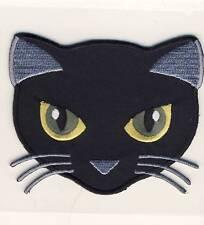 Black Cat - Schwarze Katze - Kopf  - Aufnäher Aufbügler Patch Applikation #9148