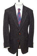 42L Vintage Sport Coat Sz L Harris Tweed BROWN HERRINGBONE Blazer Jacket Classic