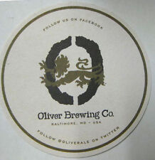 OLIVER BREWING, Our Restaurants Beer COASTER Mat w/ LION Baltimore MARYLAND 2015