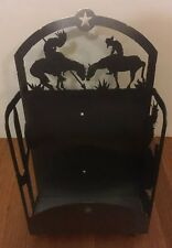 Cowboys & Indians Magazine Rack Holder Display Stand Heavyweight Metal Western