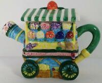 Tee Nee Flower Cart 8 oz. Handpainted Tea Pot Collectible