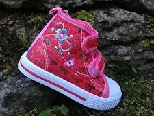 Toddler Girls Hi Top Nursery Slippers Canvas Shoes Pumps Plimsolls Sizes 4 - 8