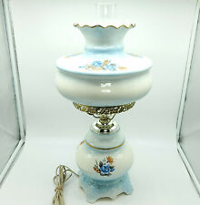 Vintage Hurricane Lamp Large Milk Glass Floral Print + Hand Painted Gold SIGNED