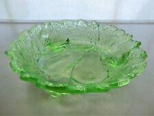 """Indiana Glass Green Avocado Sweet Pear 3 Toed Nappy 6 1/4"""" Bowl"""