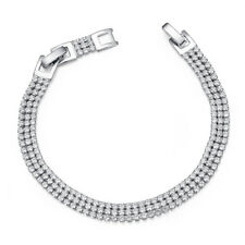 Luxury TT 7mm 18K White Gold Filled Clear CZ Wedding Bracelet (CBF36)NEW