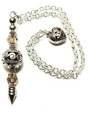 DOWSING/SCRYING PENDULUM Mink Crystal Glass Silver Plated Copper