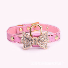 Dogs Cats Gold Bling Diamond Giltter Leather Fashion Collar With Ring For Tags