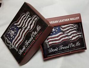 Don't Tread On Me Flag Print on Handcrafted Wallet BI-Fold Men's Vegan Leather