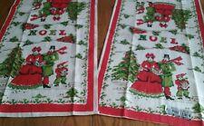 2 UNUSED PARISIAN PRINTS PURE LINEN PRINT KITCHEN TOWELS ~ CHRISTMAS CAROLERS