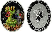 2013 Niue Large Oval Color Silver Proof 1$ Green Baby snake-Lunar Calendar