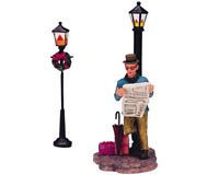 Lemax 2003 Biding Time Lamp Post Village Collection #32701A Retired Figurine