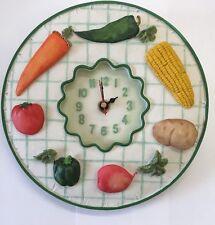 "Vegetable Clock 8.25"" Poly Resin New B/o Carrot Corn Pepper Tomato Wall Clock"
