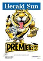 """RICHMOND TIGERS 2017 AFL PREMIERSHIP POSTER MARK KNIGHT """"HERALD SUN WEG"""""""