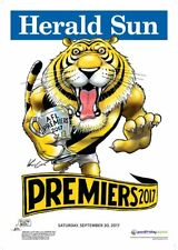 "RICHMOND TIGERS 2017 AFL PREMIERSHIP POSTER MARK KNIGHT ""HERALD SUN WEG"""