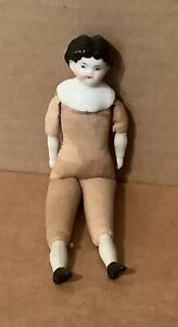 """Antique Doll House China Head Doll  6"""" Center Part Black Hair - Shoulder Plate"""