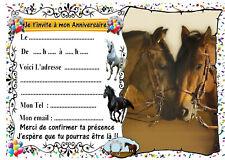 5 cartes invitation anniversaire cheval n°59  ( animaux )