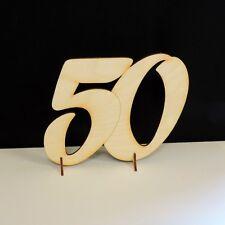 Goldene Hochzeit 50 Jahre Geschenk 15cm, Holz, Geburtstags Jubiläum Aufsteller