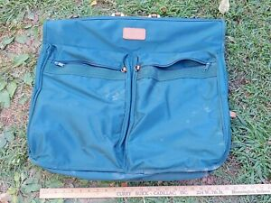 American Tourister Garment Suit Hanging Bag Green with Leather Vintage Luggage