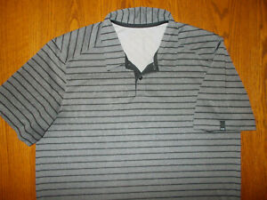 OAKLEY SHORT SLEEVE GRAY STRIPED POLO SHIRT MENS LARGE EXCELLENT CONDITION
