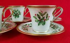 LENOX HOLIDAY DIMENSION Footed Demitasse Cup & Saucer Set - MINT - FREE SHIP!